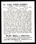 1939 Play Ball Reprint #53  Carl Hubbell  Back Thumbnail