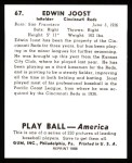 1939 Play Ball Reprint #67  Eddie Joost  Back Thumbnail