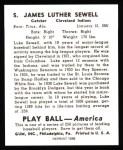 1939 Play Ball Reprint #5  Luke Sewell  Back Thumbnail