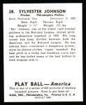 1939 Play Ball Reprint #28  Sylvester Johnson  Back Thumbnail