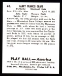 1939 Play Ball Reprint #65  Harry Craft  Back Thumbnail