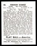 1939 Play Ball Reprint #48  Lefty Gomez  Back Thumbnail