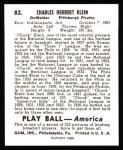 1939 Play Ball Reprint #82  Chuck Klein  Back Thumbnail