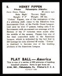 1939 Play Ball Reprint #8  Henry Pippen  Back Thumbnail