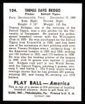 1939 Play Ball Reprint #104  Tom Bridges  Back Thumbnail