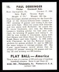 1939 Play Ball Reprint #15  Paul Derringer  Back Thumbnail