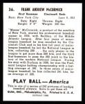 1939 Play Ball Reprint #36  Frank McCormick  Back Thumbnail