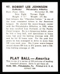 1939 Play Ball Reprint #97  Bob Johnson  Back Thumbnail