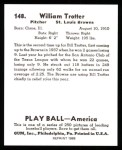 1939 Play Ball Reprint #148  Bill Trotter  Back Thumbnail