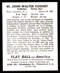 1939 Play Ball Reprint #85  Johnny Cooney  Back Thumbnail