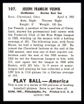 1939 Play Ball Reprint #107  Joe Vosmik  Back Thumbnail
