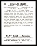 1939 Play Ball Reprint #88  Charlie Keller  Back Thumbnail