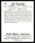 1939 Play Ball Reprint #92  Ted Williams  Back Thumbnail