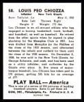 1939 Play Ball Reprint #58  Lou Chiozza  Back Thumbnail