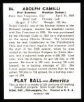 1939 Play Ball Reprint #86  Dolph Camilli  Back Thumbnail