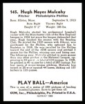 1939 Play Ball Reprint #145  Hugh Mulcahy  Back Thumbnail