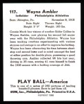 1939 Play Ball Reprint #117  Wayne Ambler  Back Thumbnail