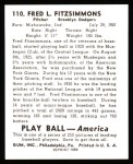 1939 Play Ball Reprint #110  Fred Fitzsimmons  Back Thumbnail