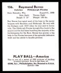 1939 Play Ball Reprint #156  Ray Berres  Back Thumbnail
