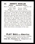 1939 Play Ball Reprint #63  Emmett Mueller  Back Thumbnail