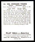 1939 Play Ball Reprint #33  Del Young  Back Thumbnail
