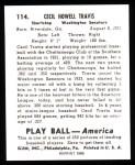 1939 Play Ball Reprint #114  Cecil Travis  Back Thumbnail