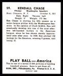 1939 Play Ball Reprint #59  Ken Chase  Back Thumbnail