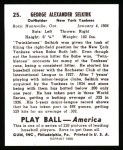 1939 Play Ball Reprint #25  George Selkirk  Back Thumbnail