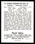 1940 Play Ball Reprint #15  George Case  Back Thumbnail
