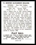 1940 Play Ball Reprint #8  George Selkirk  Back Thumbnail