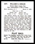 1940 Play Ball Reprint #237  Willie Keeler  Back Thumbnail