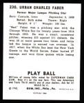 1940 Play Ball Reprint #230  Red Faber  Back Thumbnail