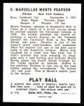 1940 Play Ball Reprint #5  Monte Pearson  Back Thumbnail