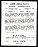 1940 Play Ball Reprint #105  Paul Waner  Back Thumbnail