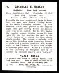 1940 Play Ball Reprint #9  Charlie Keller  Back Thumbnail