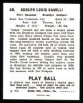 1940 Play Ball Reprint #68  Dolph Camilli  Back Thumbnail