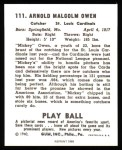 1940 Play Ball Reprint #111  Mickey Owen  Back Thumbnail