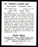 1940 Play Ball Reprint #98  Pinky May  Back Thumbnail