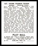 1940 Play Ball Reprint #167  Frankie Frisch   Back Thumbnail