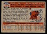 1957 Topps #274  Don Hoak  Back Thumbnail