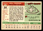 1955 Topps #14  Jim Finigan  Back Thumbnail