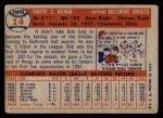 1957 Topps #14  Bob Nieman  Back Thumbnail