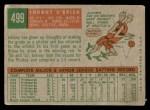 1959 Topps #499  Johnny O'Brien  Back Thumbnail