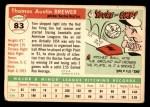 1955 Topps #83  Tom Brewer  Back Thumbnail