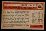 1954 Bowman #108  Bobby Adams  Back Thumbnail