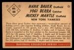 1953 Bowman #44  Mickey Mantle / Yogi Berra / Hank Bauer  Back Thumbnail