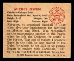 1950 Bowman #78  Mickey Owen  Back Thumbnail