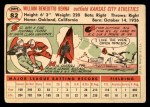 1956 Topps #82  Bill Renna  Back Thumbnail