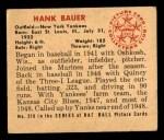 1950 Bowman #219  Hank Bauer  Back Thumbnail