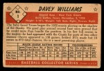 1953 Bowman #1  Davey Williams  Back Thumbnail